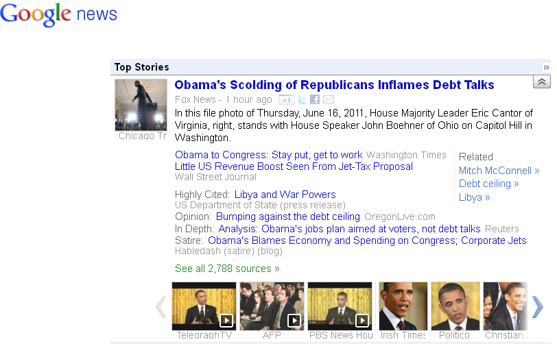 Google News Front Page