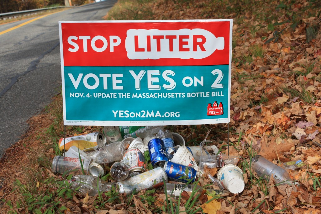 Stop Litter lawn sign and collection of litter